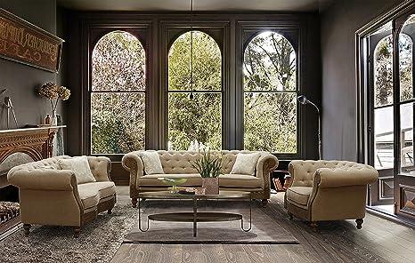 Amazon.com: Armen Living Barstow tela sofá, Arena: Kitchen ...