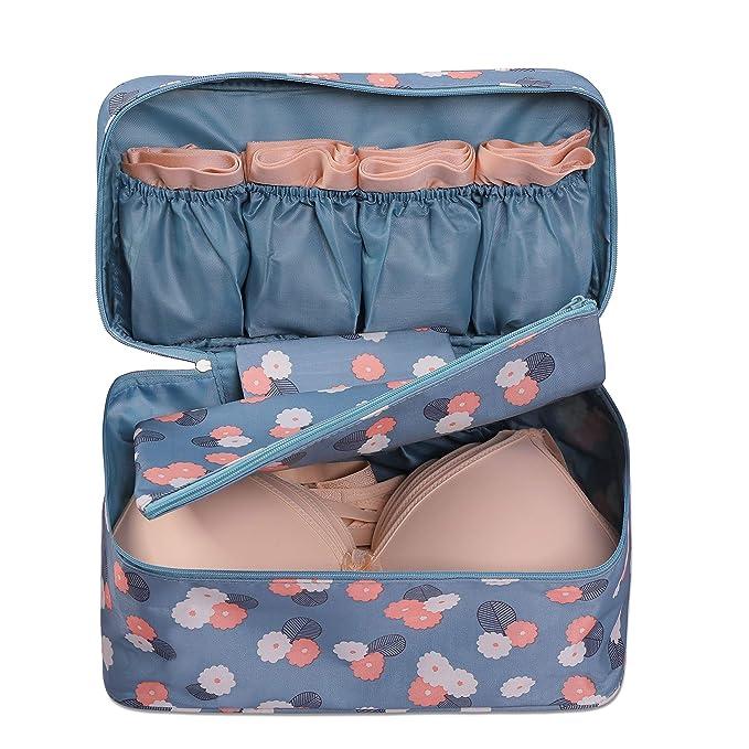 5738f0de565b ALENA CULIAN Closet Bra Underwear Organizer Waterproof Travel Packing  Toiletry Makeup Bag (Blue Flower) (Blue)