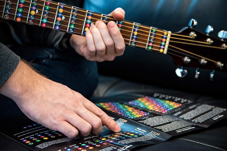 Pegatinas de notas para guitarra, incluye diagrama con escaleras ...