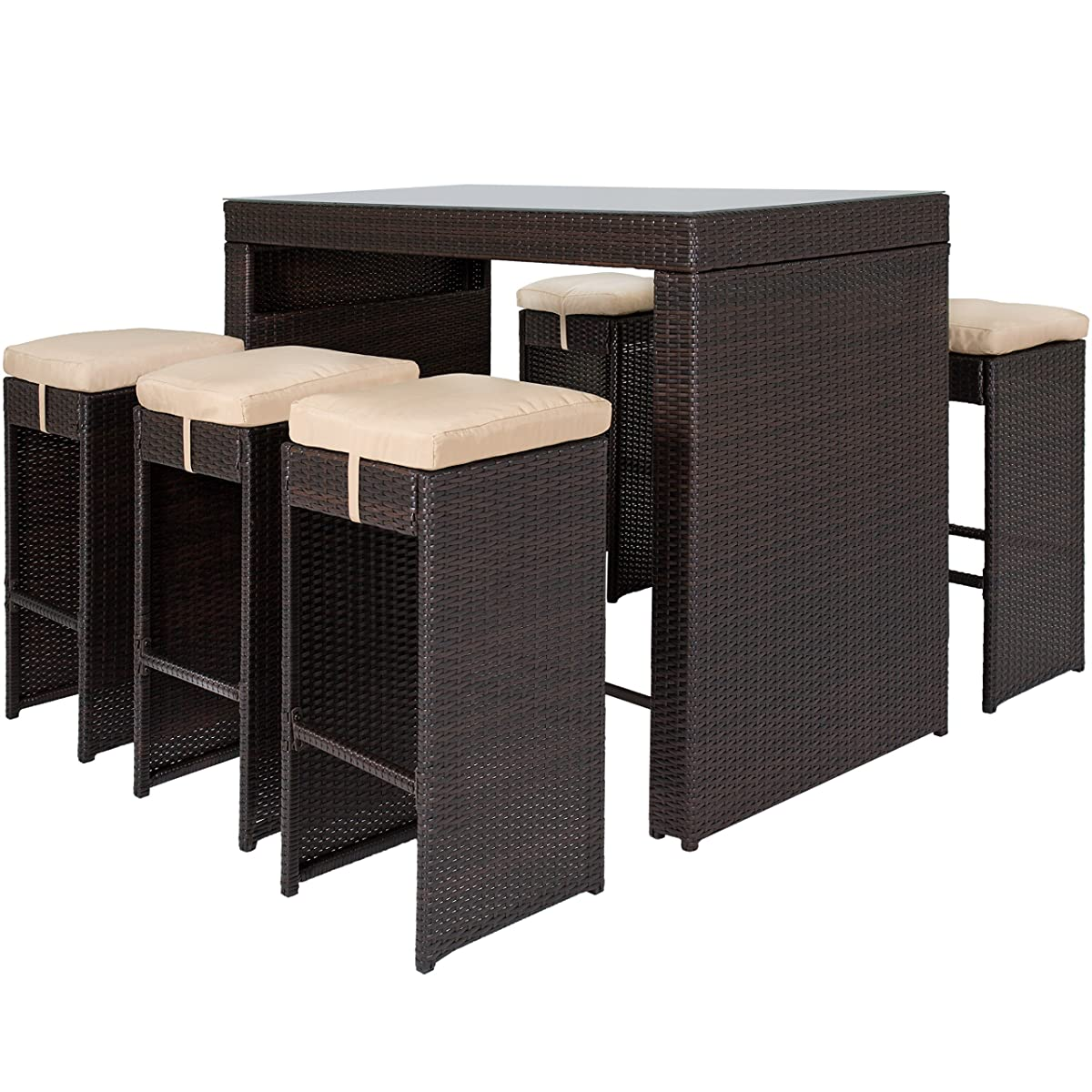 Best Choice Products 7-Piece Outdoor Rattan Wicker Bar Dining Patio Furniture Set w/ Glass Table Top, 6 Stools - Brown