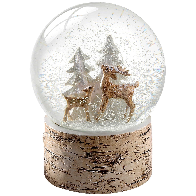 Color marr/ón /Ciervos y Fawn con Abedul Base Bola de Nieve Navidad decoraci/ón 15/cm WeRChristmas/