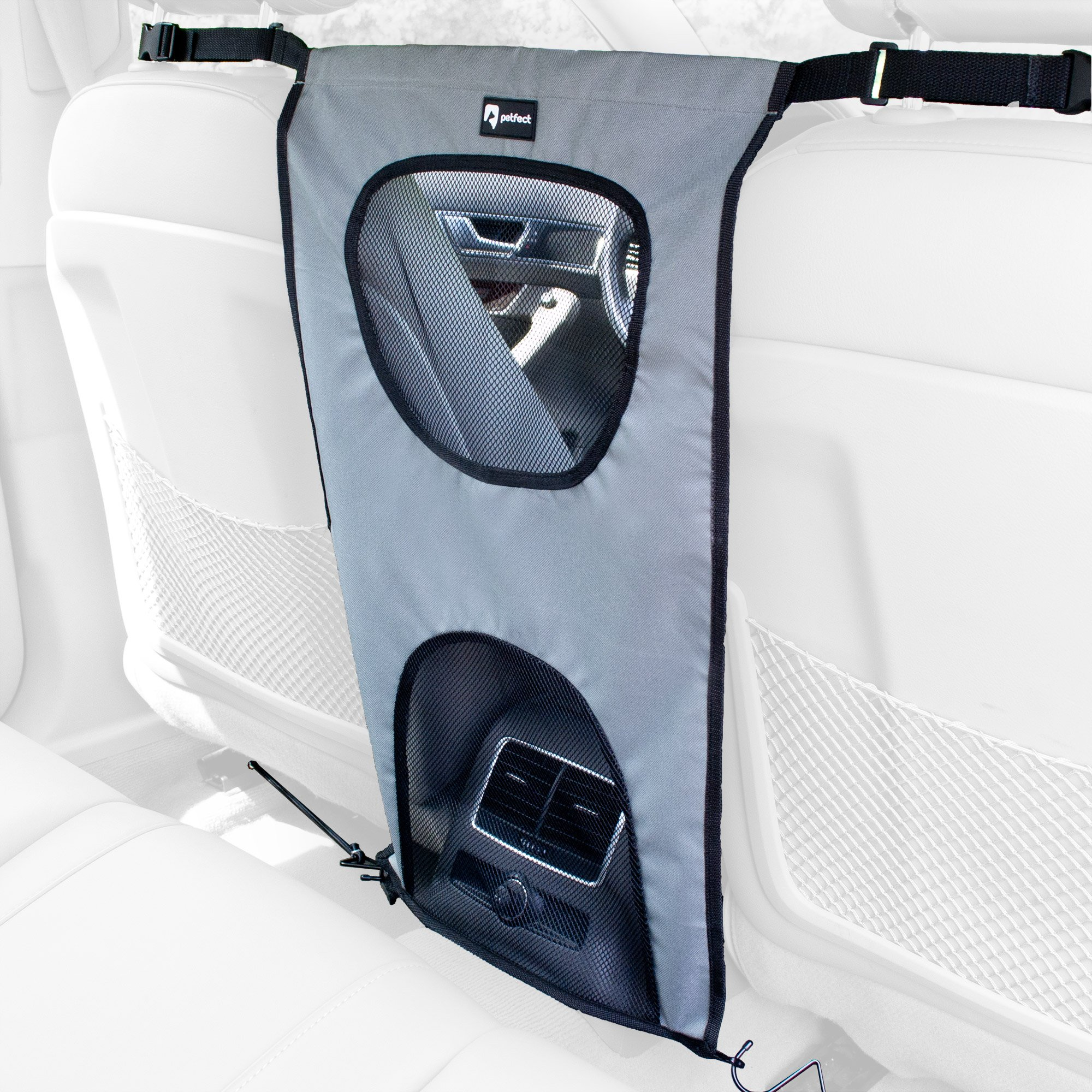 PETFECT Dog Car Back Seat Barrier - Lightweight, Durable & Perfect for Pets w/Upper Eye-Contact Net (Grey) by PETFECT