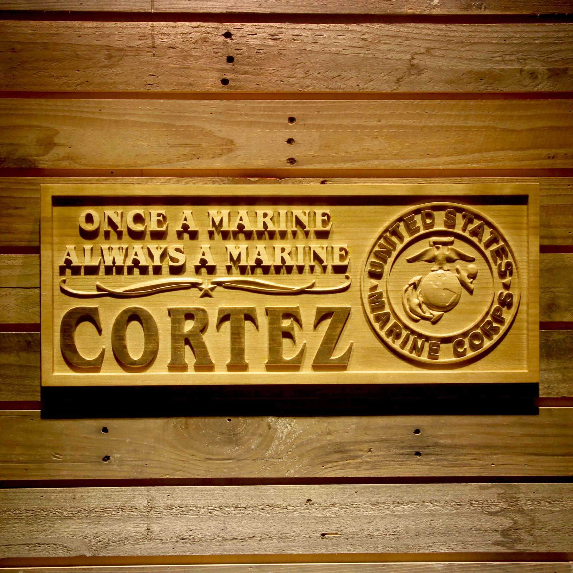 ADVPRO wpa0345 Name Personalized United States Marine Corps Gifts Wood Engraved Wooden Sign - Standard 23'' x 9.25''