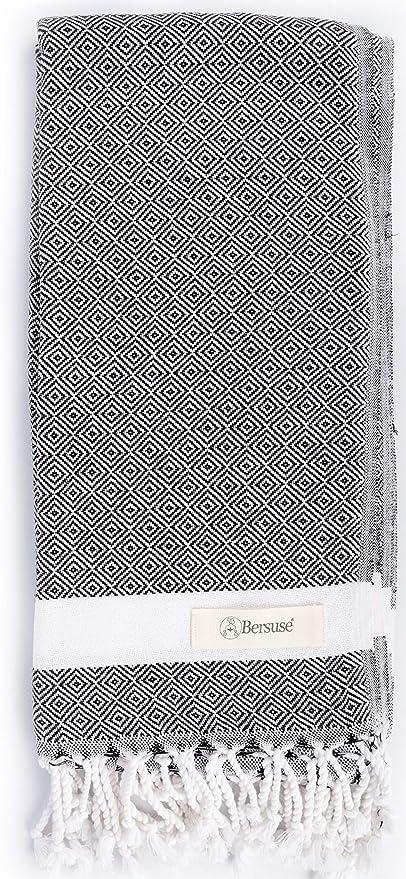 Set di 3 Oeko-Tex Laodicea Asciugamano Turco Fouta Peshtemal per Bagno e Spiaggia Telo Mare con Design Diamante 95 x 175 cm Bersuse 100/% Cotone Bianco