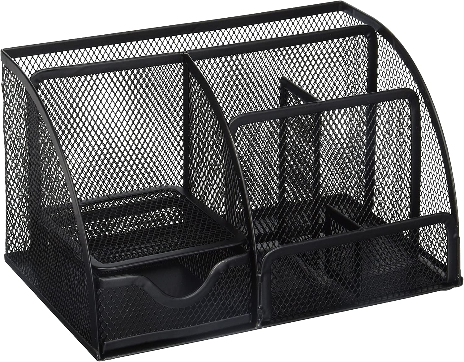 Greenco Mesh Office Supplies Desk Organizer Caddy, 6 Compartments, Black : Office Products