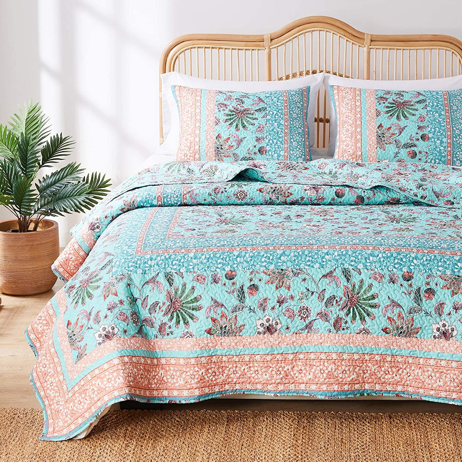 Greenland Home Barefoot Bungalow Audrey Quilt Set, 2-Piece Twin/XL, Turquoise