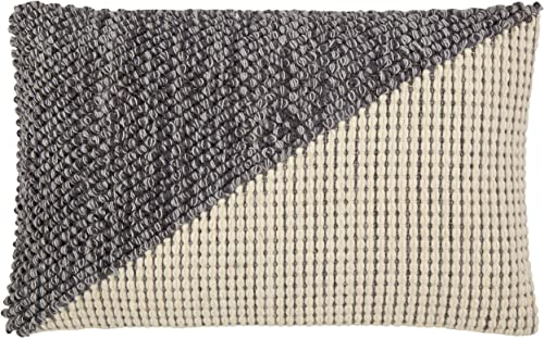 Amazon Brand Rivet Modern Textured Throw Pillow – 12 x 24 Inch, Black Gray Cream