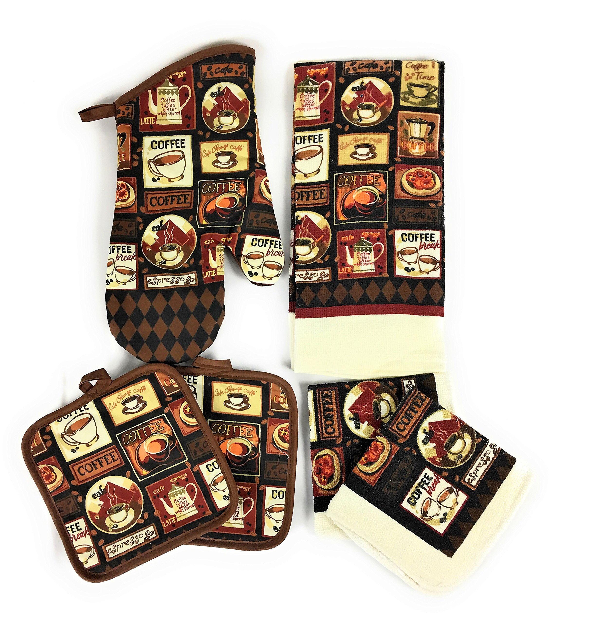 Home Collections Coffee Kitchen Towel and Dish Cloth Set with 2 Pot Holders and 1 Oven Mitt Bundle of 6 Items