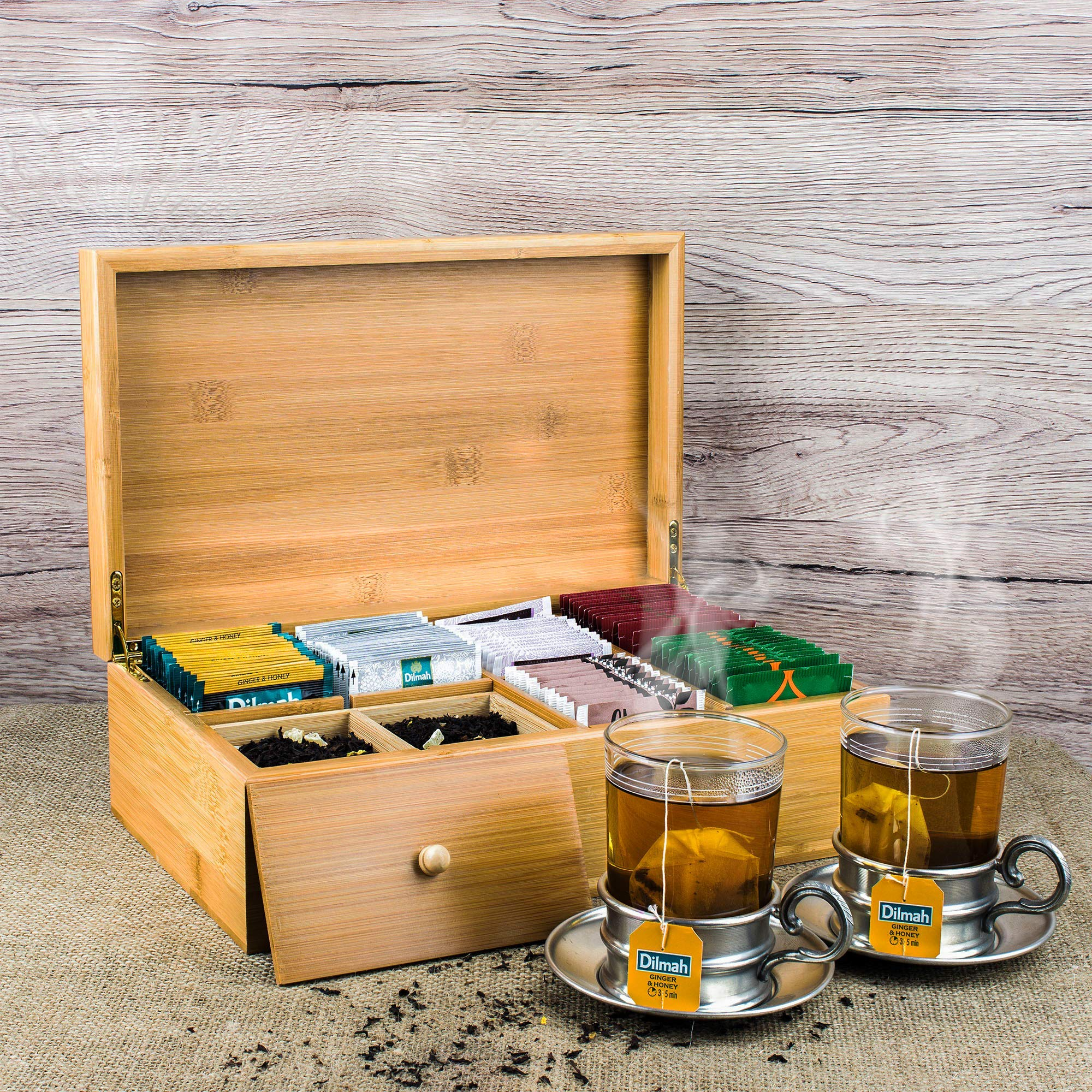Lyevon Tea Storage Organizer Bamboo Chest Box with 8 Adjustable Compartments for Assorted Tea Bags or Spices -holds 125 Tea Bags by Lyevon (Image #7)