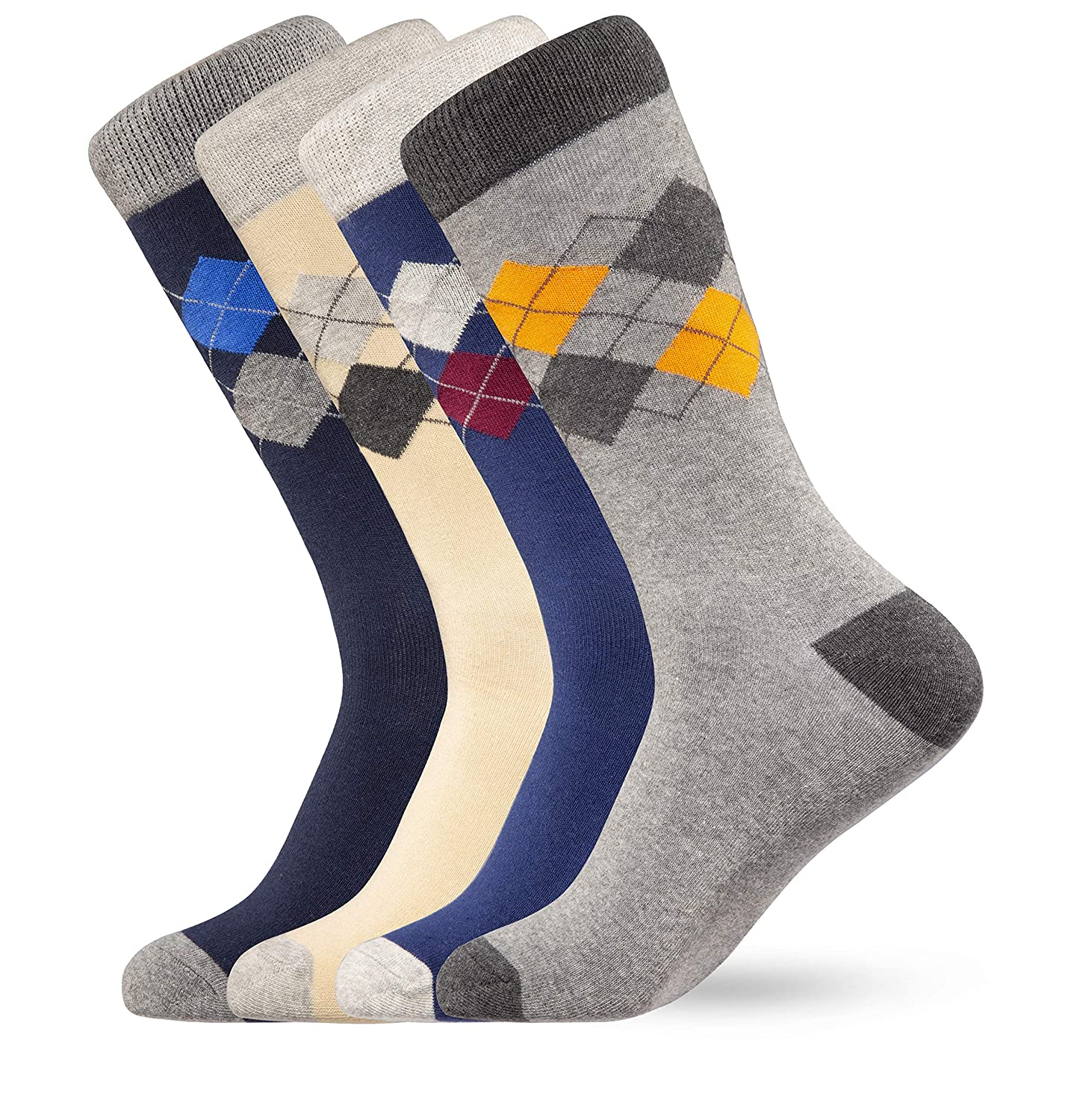Finch Supply Co Assorted Colors Mens Dress Socks 4-Pack Cotton Size 8-13