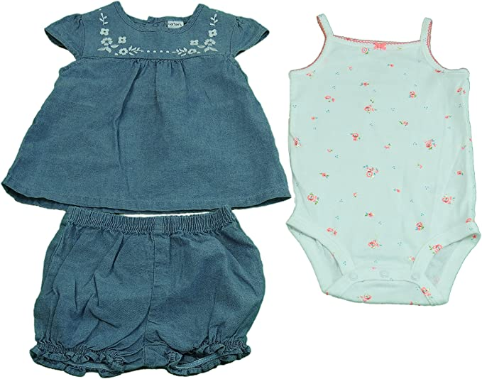 16866f8a8 Carters Girls 3-Piece Dress, Bloomers And Bodysuit, Floral And Denim (12