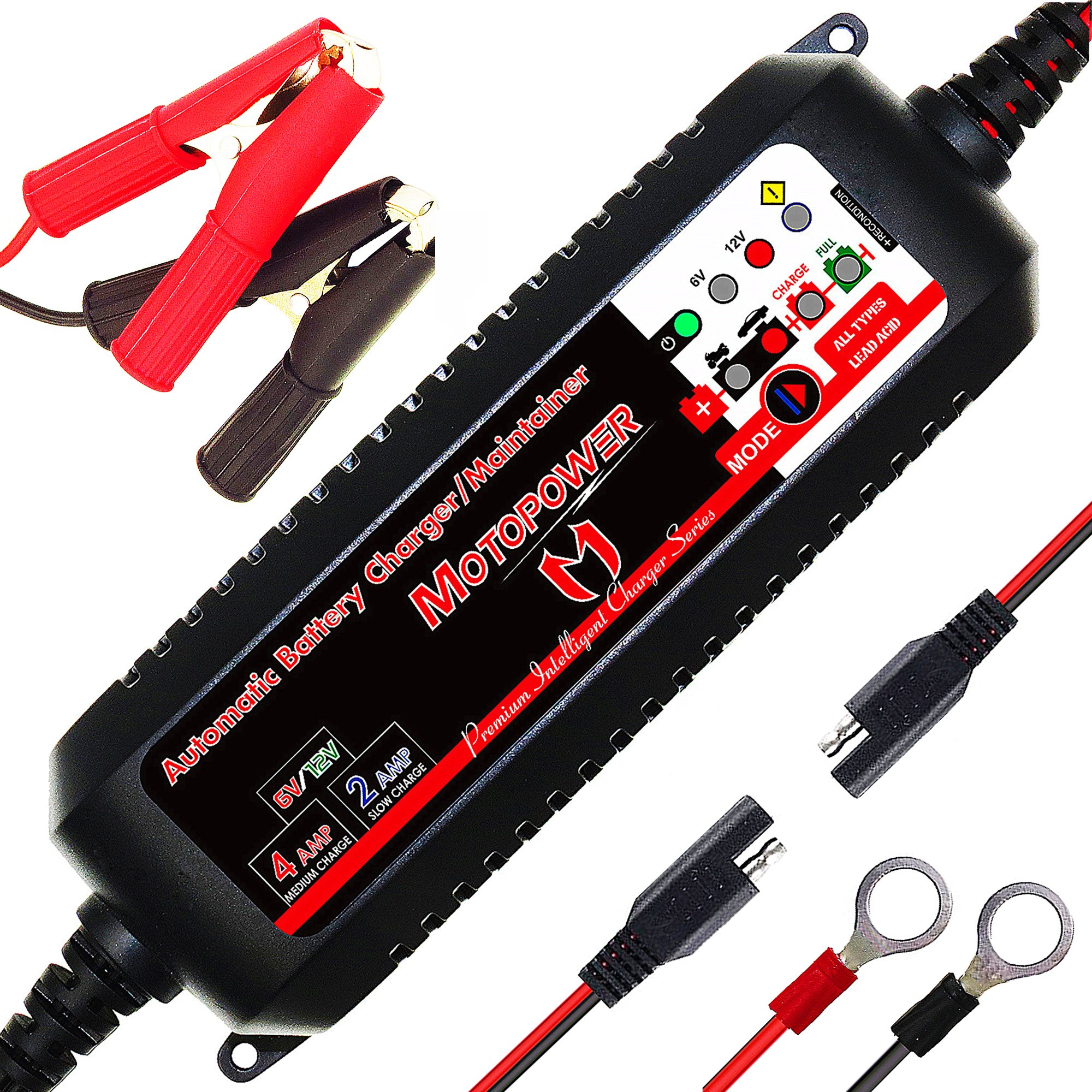 MOTOPOWER MP00207 6V / 12V 4AMP Fully Automatic Smart Battery Charger Maintainer Rescure for All Types Lead Acid Batteries of Car, Motorcycle, Boat - Battery Recover Mode