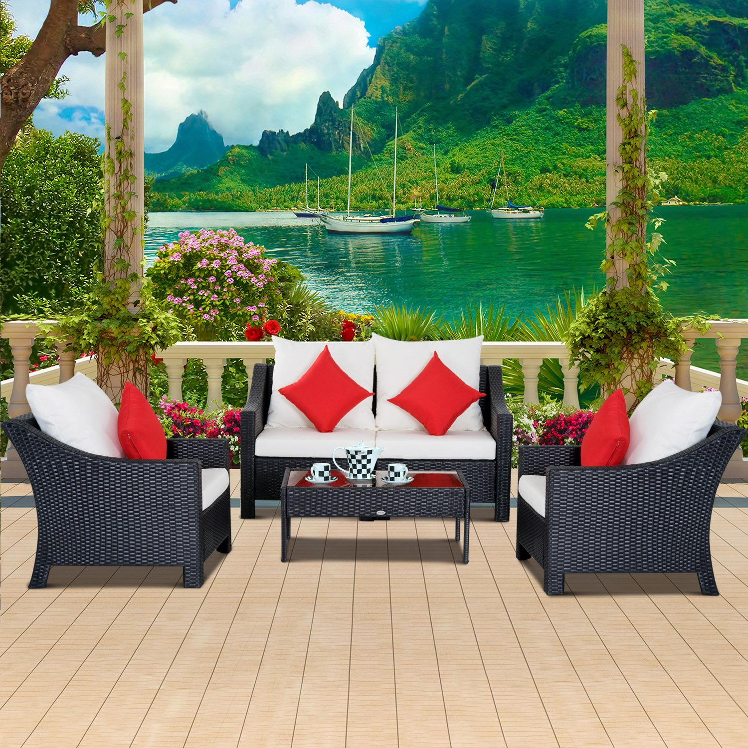 Astonishing Outsunny 4 Piece Outdoor Patio Rattan Wicker Cushioned Home Interior And Landscaping Staixmapetitesourisinfo