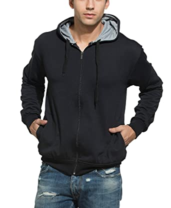 Alan Jones Solid Zipper Hooded Sweatshirt: Amazon.in: Clothing ...