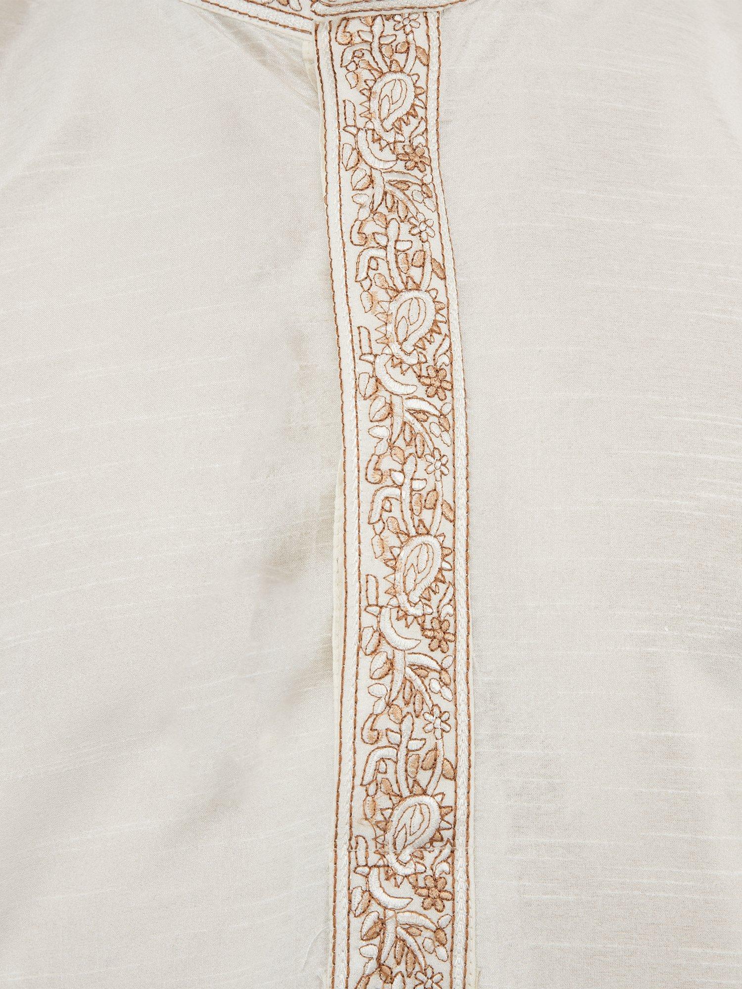 Long Sleeve Button Down Shirt Mens Kurta Pajamas Set Handmade Traditional Indian Costume Offwhite -M by SKAVIJ (Image #2)