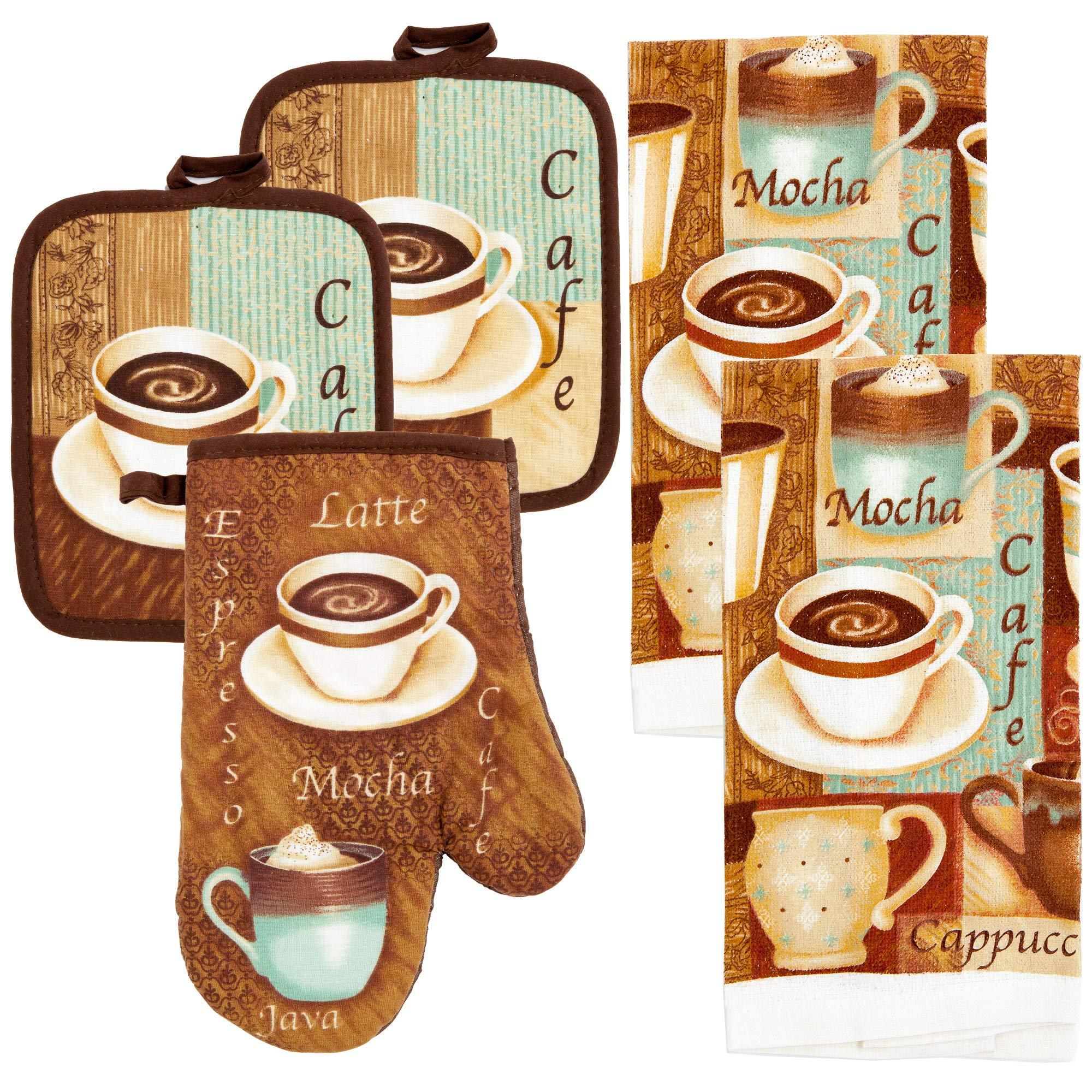 MJM Innovations Kitchen Towel Linen Set of 5 Pieces   2 Kitchen Towels 2 Potholders & 1 Oven Mitten (Java Cafe)
