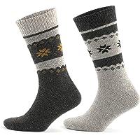 GoWith 2'li Kar Desenli Renkli Alpaka Yünlü Kışlık Ön Yıkamalı Erkek Çorabı 3097