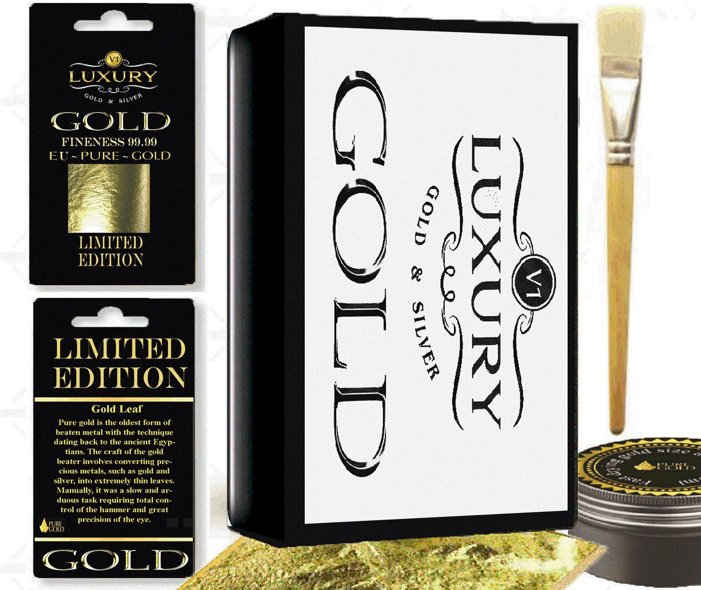 Gold leaf gilding kit with 10 sheets of gold leaf , Gilding brush , Fast drying size pure gold