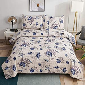 Oliven Vintage Ocean Bedding Bedspreads King Size Blue Purple Conch Shell Starfish Coral Printed Beach Quilts Coastal Coverlet Bed Cover Blanket for Home Bedroom Decor
