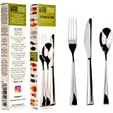 PORTION CONTROL CUTLERY Reduced-size 3PC SET. Use with DIET PLATES, DIVIDERS, RINGS, ROUNDS & CONTAINERS to eat SMALLER MOUTHFULS. Use as part of a lean & HEALTHY slimming WEIGHT LOSS programme. Control your food intake precisely WITHOUT COUNTING CALORIES, watch your body transform as you join the world of mindful eating. Recommended for post gastric bariatric surgery. Make each meal last 15 mins. Premium contemporary 18/10 stainless steel 1 serrated KNIFE, 1 four pronged FORK & 1 dessert SPOON