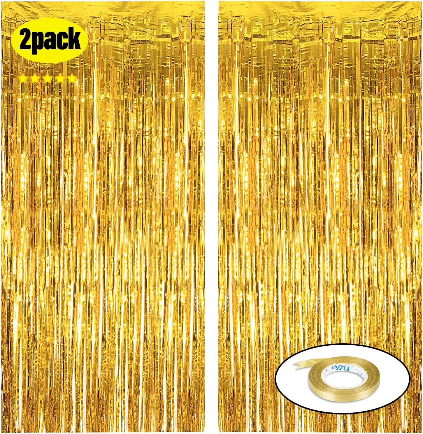 Gold Foil Fringe Curtains 3.2ft X 9.8ft (Value Pack of 2) Suitable for bachelorette party decorations supplies , Photograph Background,Birthday decoration,Graduation, Christmas Party Decorations