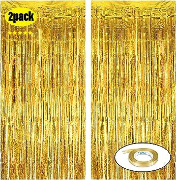 Amazon.com: Cortinas de papel de aluminio dorado con flecos ...