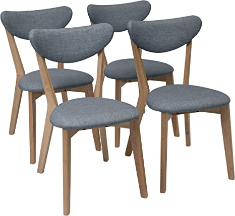 Homely - Pack de 4 sillas de Comedor de diseño nórdico MELAKA tapizadas en Tela y Patas de Madera de Roble - Azul: Amazon.es: Hogar