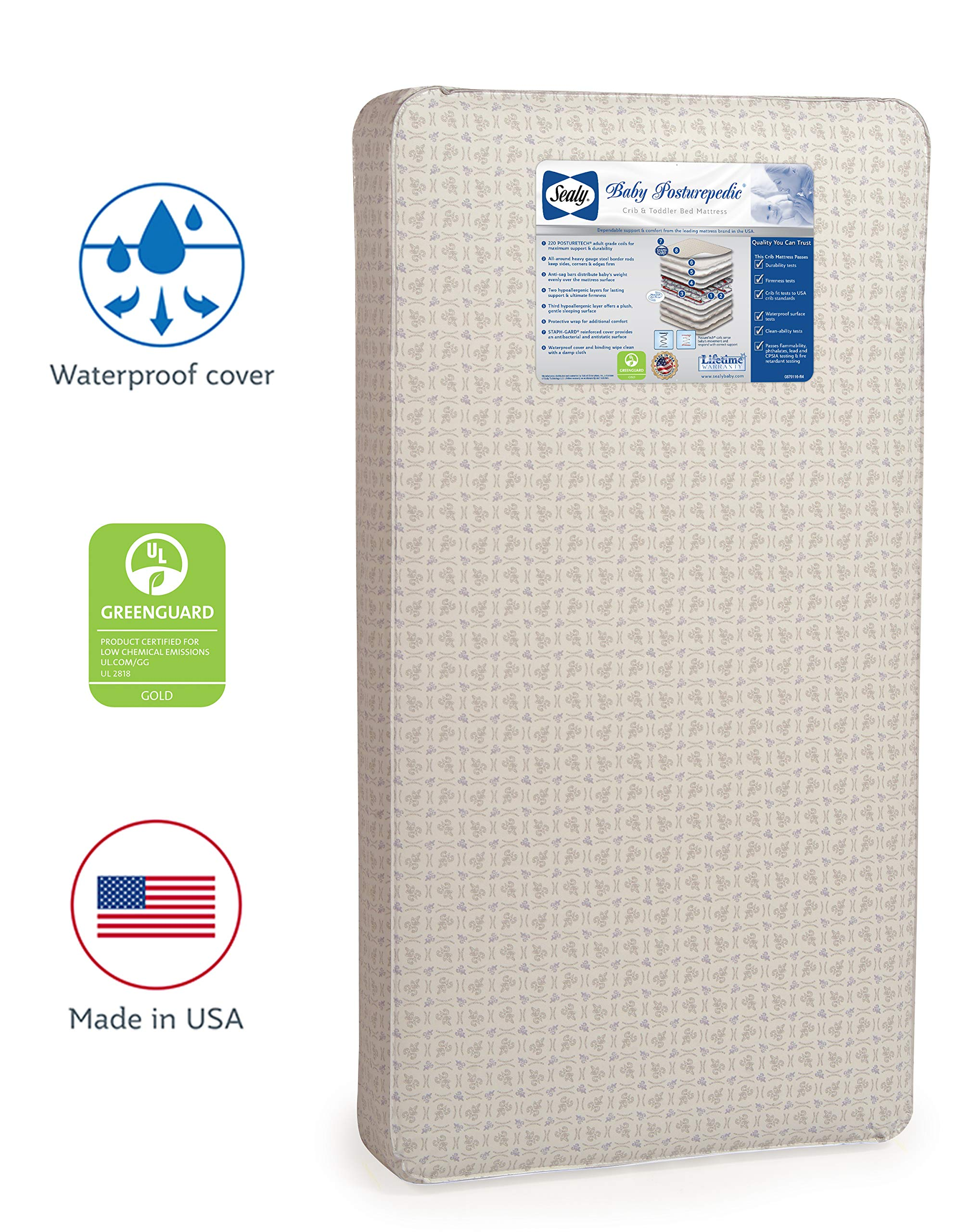 Sealy Baby Posturepedic Waterproof Standard Toddler & Baby Crib Mattress - 220 PostureTech Sensory Coils, 51.63'' x 27.25'' by Sealy