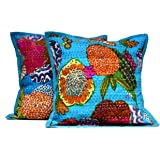 2 Blue Indian Handmade Pillowcase Kantha Floral Throw Pillow Toss Cushion Covers