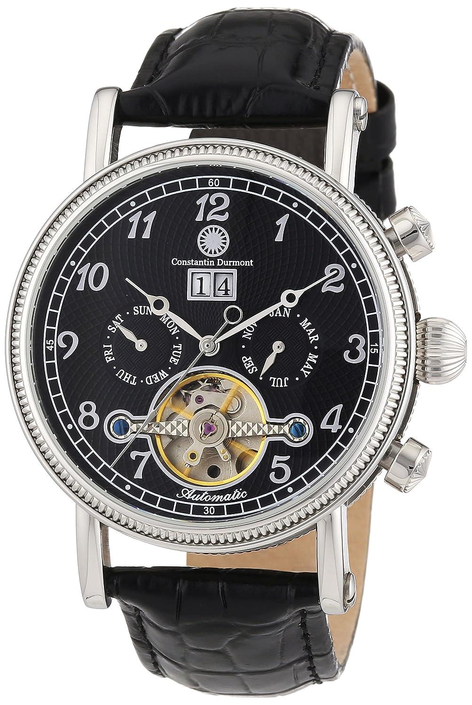 Constantin Durmont Tradition - Reloj analógico de caballero automático con correa de piel negra - sumergible a 30 metros