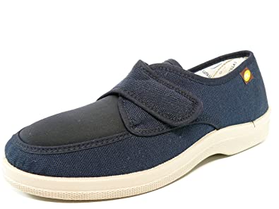 Chaussure Homme Rue Dr. Mark Cutillas Tissu De Toile Beige Avec Velcro - Largeur Spéciale - 21300-2 (44, Beige)