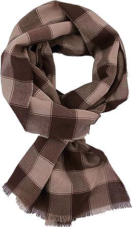 bufanda ligera de algodón bufanda de hombre a cuadros marrón beige bufanda de verano: Amazon.es: Ropa y accesorios