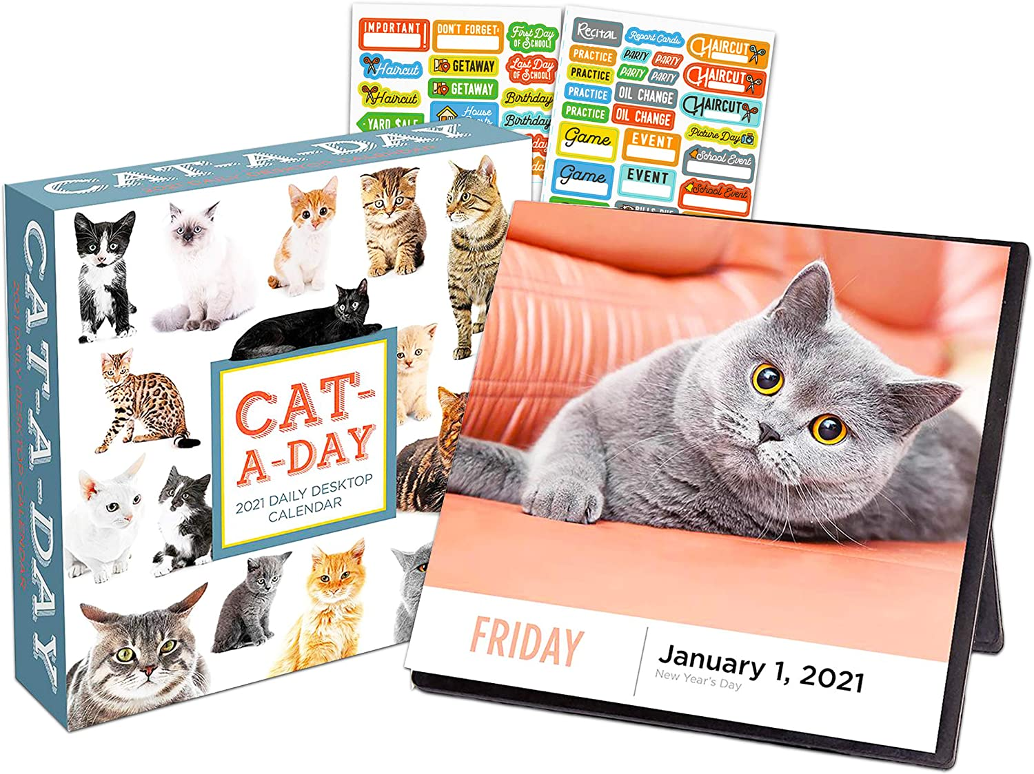 Cat a Day 2021 Calendar, Box Edition Bundle - Deluxe 2021 Daily Cats Day-at-a-Time Box Calendar with Over 100 Calendar Stickers