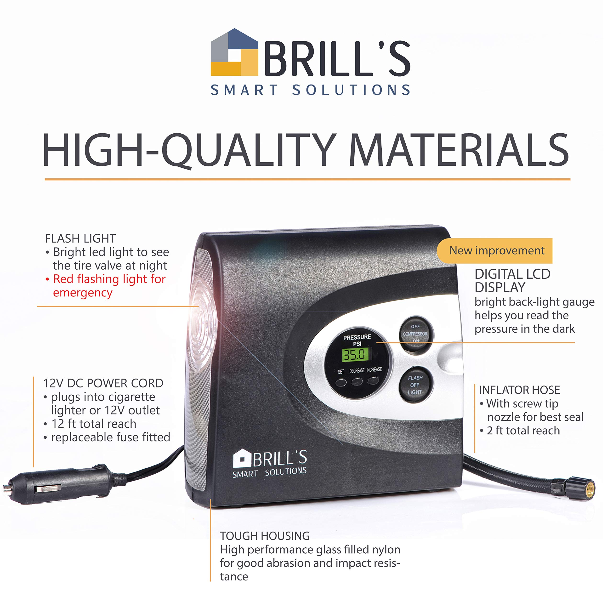 BRILL'S 12V DC Portable Tire Inflator Pump, 150 Psi Electric Air Compressor for Cars, Bikes, Motorcycles and Balls. Carry Case and USB Car Charge Included by BRILL'S SMART SOLUTIONS (Image #6)