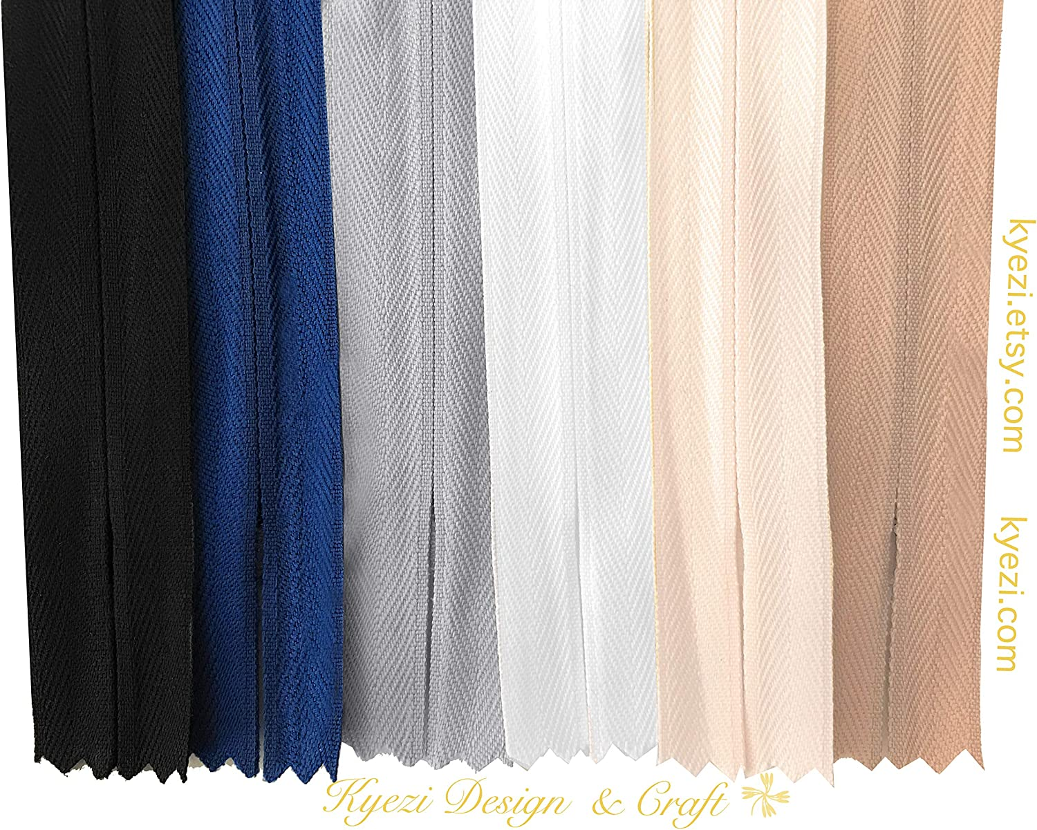 White, 5pcs, 18 inch Sewer Skirts Pants Tailor 18 Inch Nylon Invisible Zippers for Pillow Sewing Craft Dresses