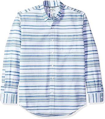 Amazon Essentials – Camisa Oxford de manga larga de corte recto de rayas para hombre