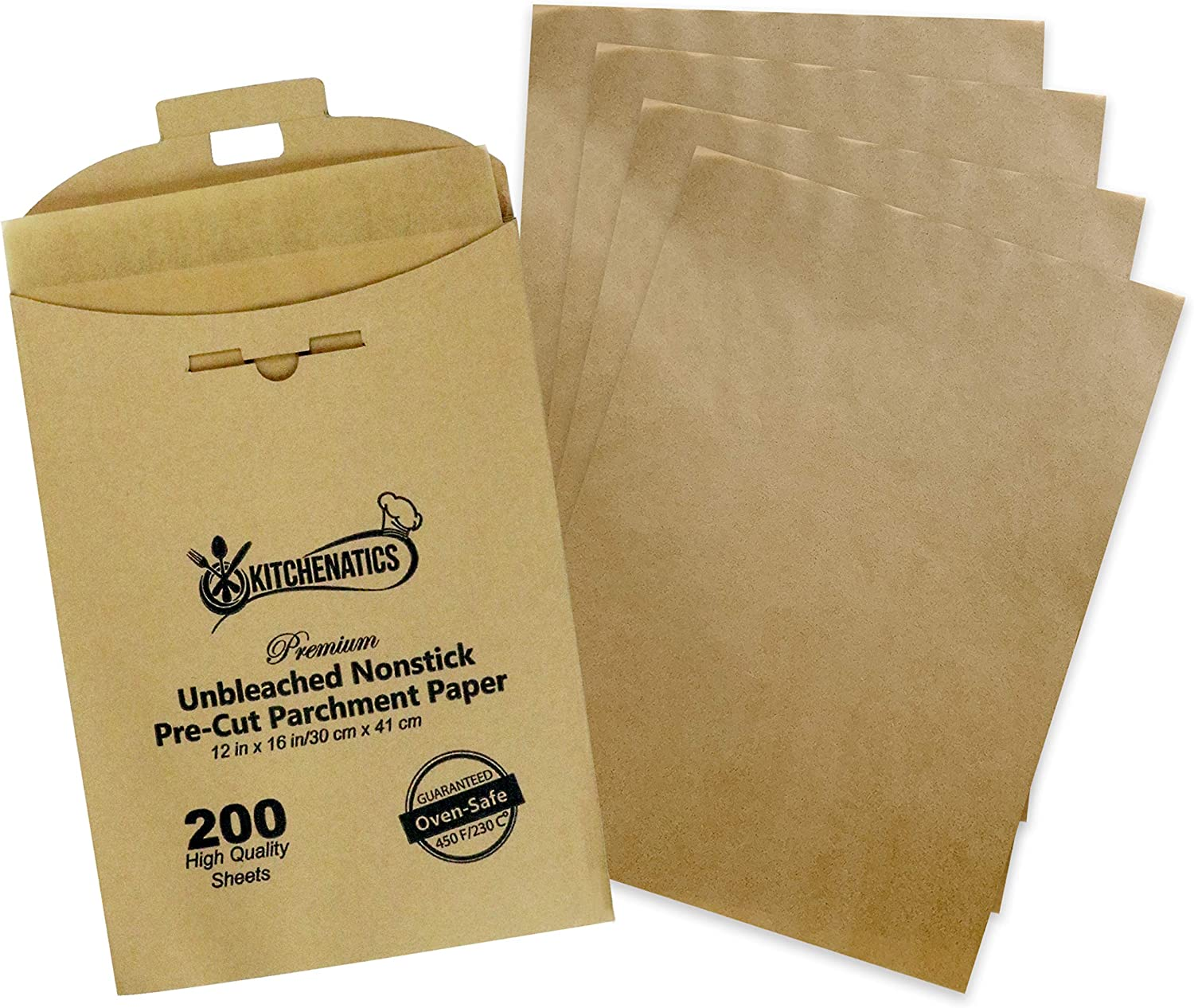 KITCHENATICS Unbleached Non Stick Parchment Paper, Half-Sheet, Non-Perforated Cooking Sheet Liners For Baking Pan, Air Fryer, Steamer, Oven or Grill, Brown Wax-Free Liner, 12