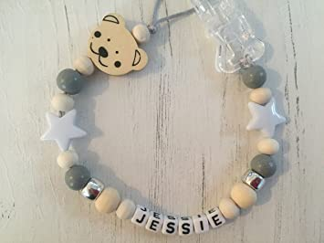 Unisex Grey silicone and wooden dummy clip*pacifier// not personalised