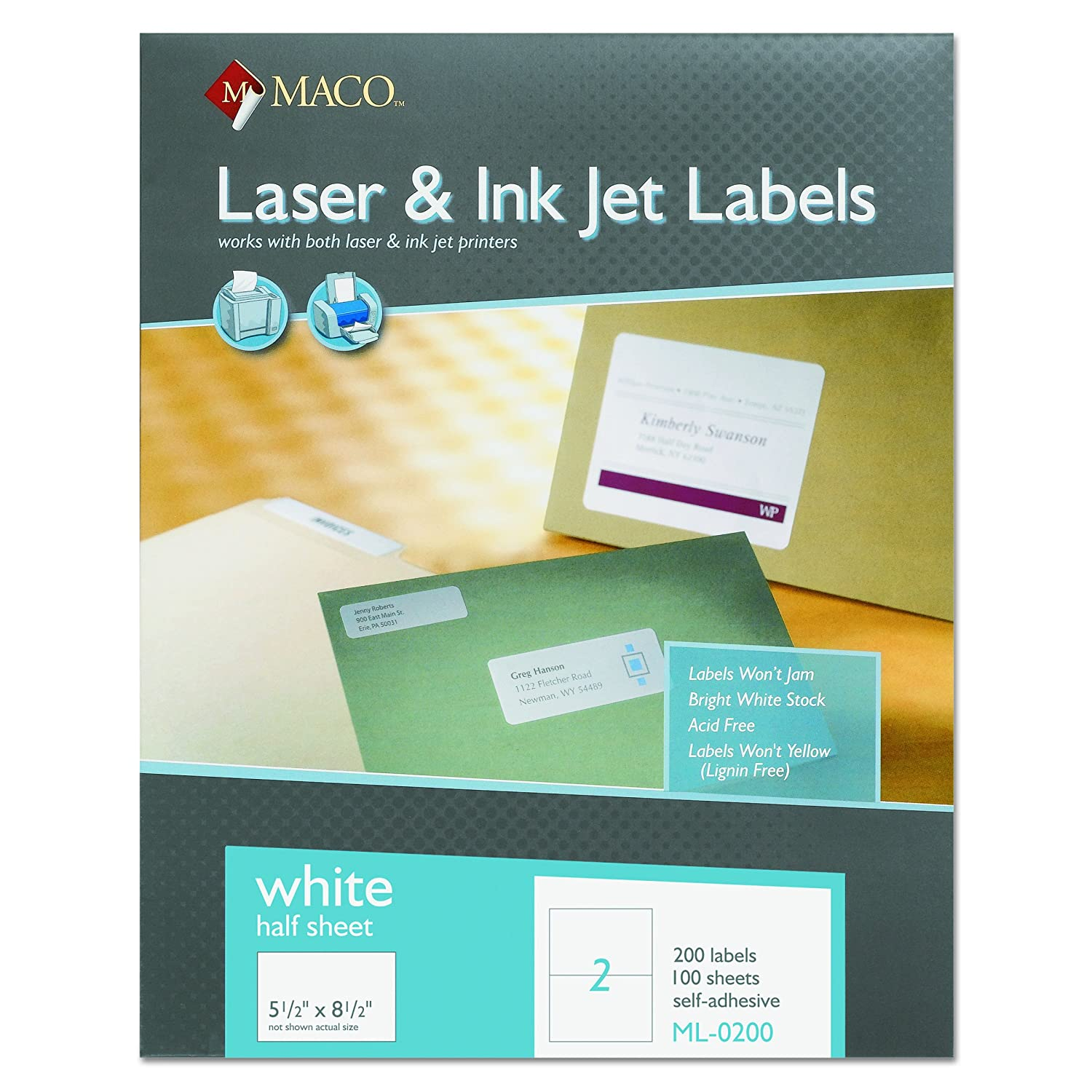 Amazon Maco Laserink Jet White Internet Shipping Labels 5 1