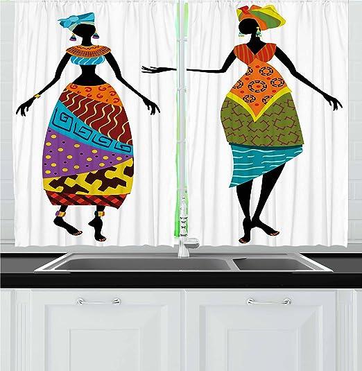 Mujer africana cortinas por Ambesonne, Tribal Ladies en disfraz de ...