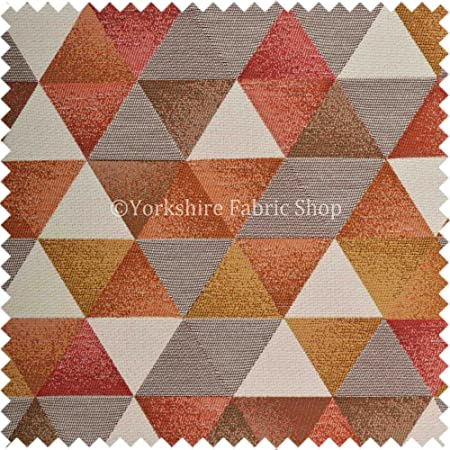 Exclusive Fabric Geometric Pattern Orange Yellow Red White Colour