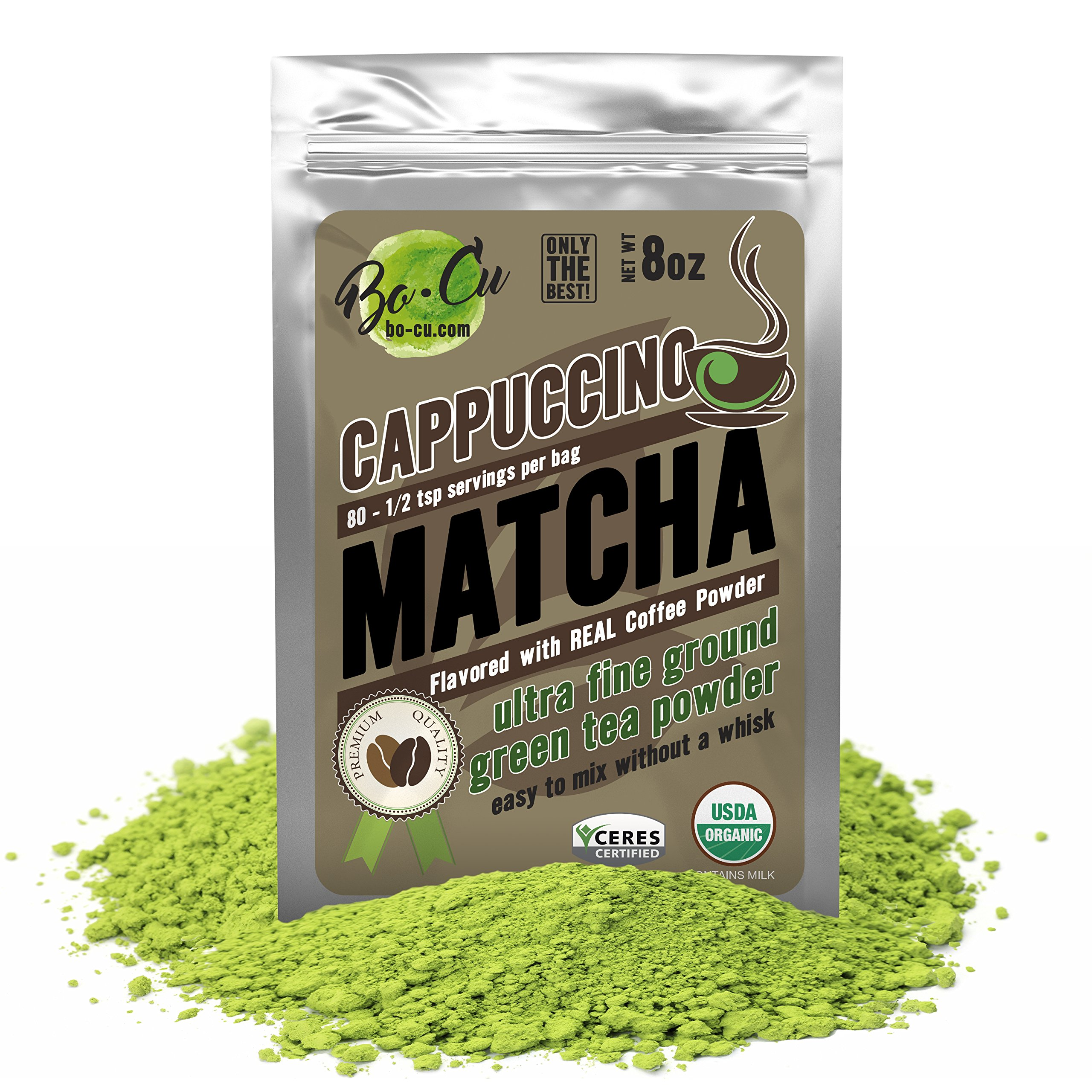 Bo-Cu Body Cappuccino Flavored Organic Matcha Green Tea Powder - 80 Servings, 8 oz - Real Coffee Natural Flavored Instant Tea for Drinking, Smoothies or Baking, Grade A Matcha
