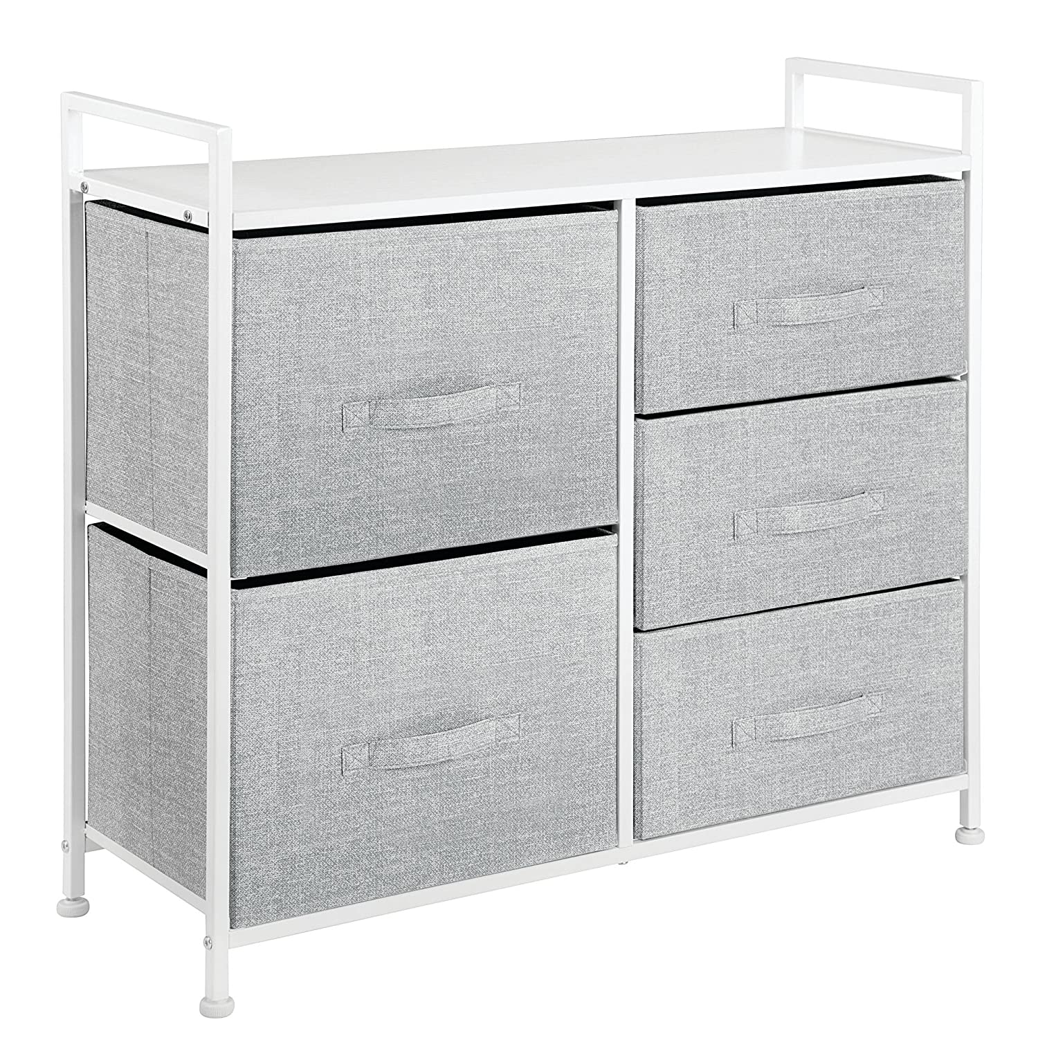 Wood Top Closets Charcoal Gray//Black MetroDecor 00137MDCO Sturdy Steel Frame mDesign Wide Dresser Storage Tower Easy Pull Fabric Bins 5 Drawers Hallway Textured Print Entryway Organizer Unit for Bedroom