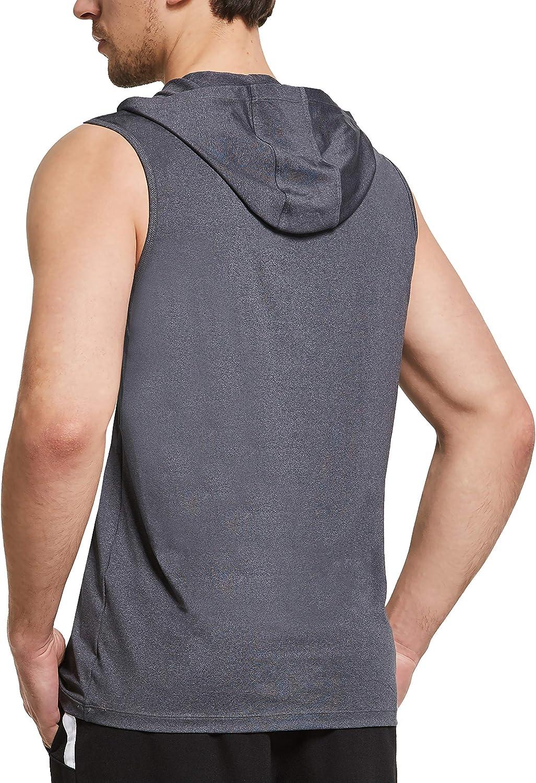 Ogeenier Mens Workout Sleeveless Hoodie Gym Running Vest Tank Top Muscle Sports T-Shirt