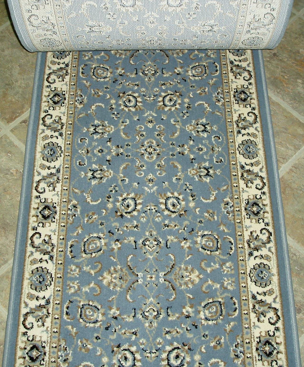 "153460 - Rug Depot Radici Alba 1426 Grey Traditional Hall and Stair Runner - 26"" Wide Hallway Rug Runner - Light Blue Background - Carpet Runner Sold By the Foot -  - runner-rugs, entryway-furniture-decor, entryway-laundry-room - 91KGvGjHcML -"