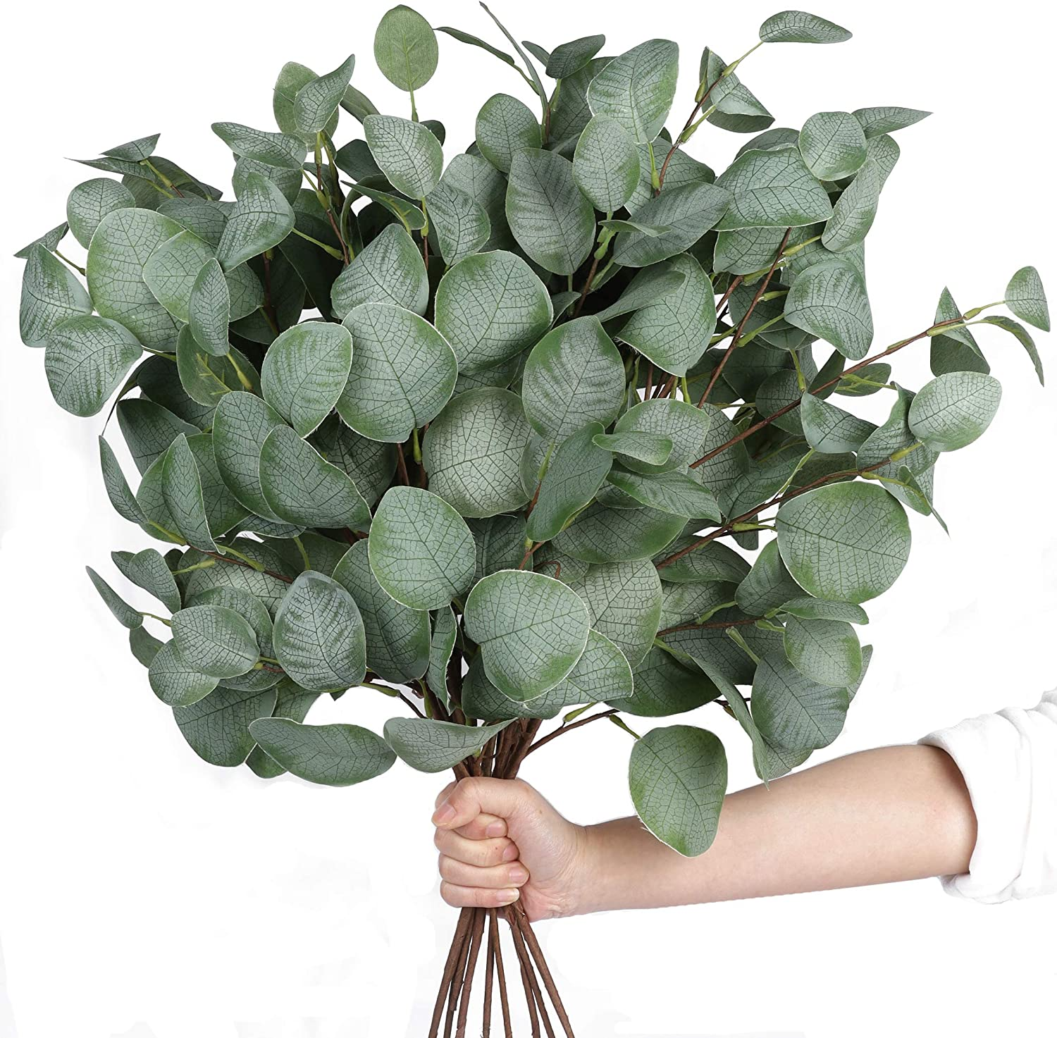 Miracliy 6pcs Artificial Eucalyptus Leaves Stems Faux Large Eucalyptus Greenery Stems for Vase Home Wedding Decor