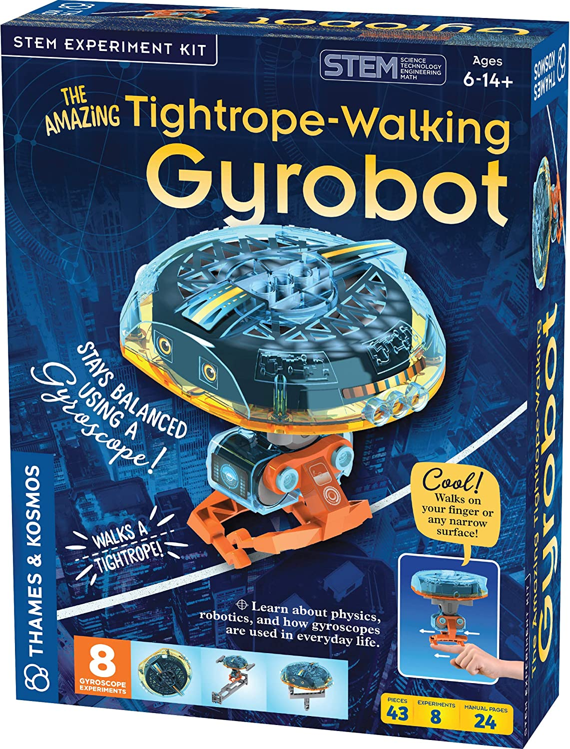 Thames & Kosmos The Amazing Tightrope-Walking Gyrobot STEM Experiment Kit   Build a Robot that Walks on Narrow Surfaces   8 Experiments with Gyroscopic Forces   Includes Parts to Build Tightrope Setup