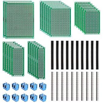 MVPOWER Set de Tableros de PCB y Accesorios de Doble Cara Placa de PCB Prototipo (20pcs ...