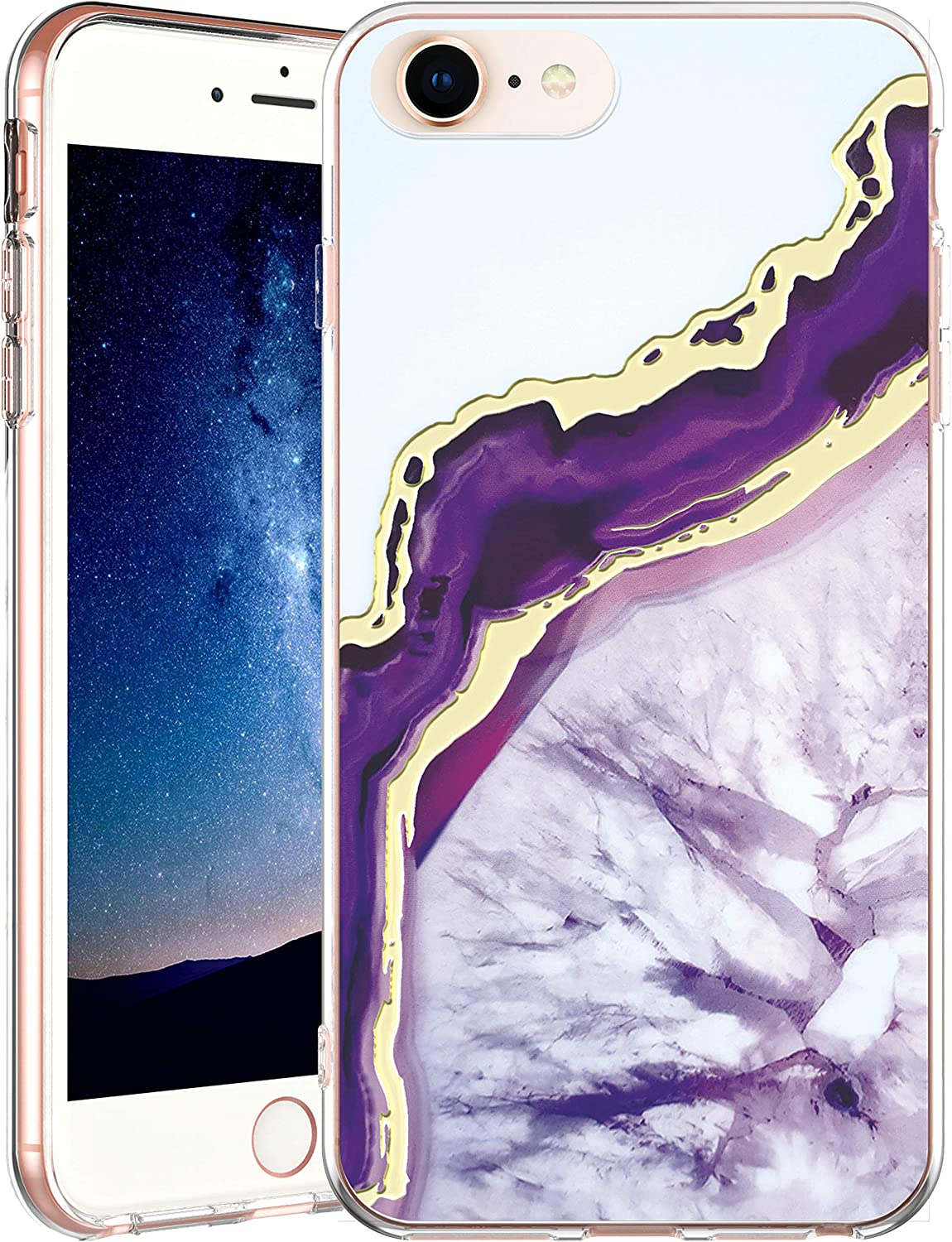 IN4U iPhone SE 2020 / iPhone 8 / iPhone 7 / iPhone 6S Case, Hard Back Marble Design Gold Foil 3D Layered Raised Edge Soft TPU Bumper Cover for iPhone SE 2020/8 /7/6S Case (Purple Crystal Agate)