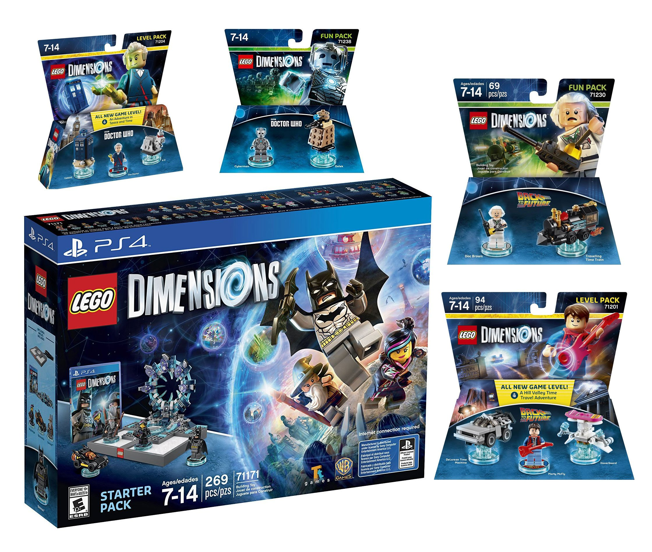 Lego Dimensions Time Traveler Starter Pack + Doctor Who Level Pack + Cyberman Fun Pack + Back To The Future Marty McFly Level Pack + Doc Brown Fun Pack for Playstation 4 or PS4 Pro Console